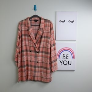 Forever 21+ 0X Plaid Pink OverCoat